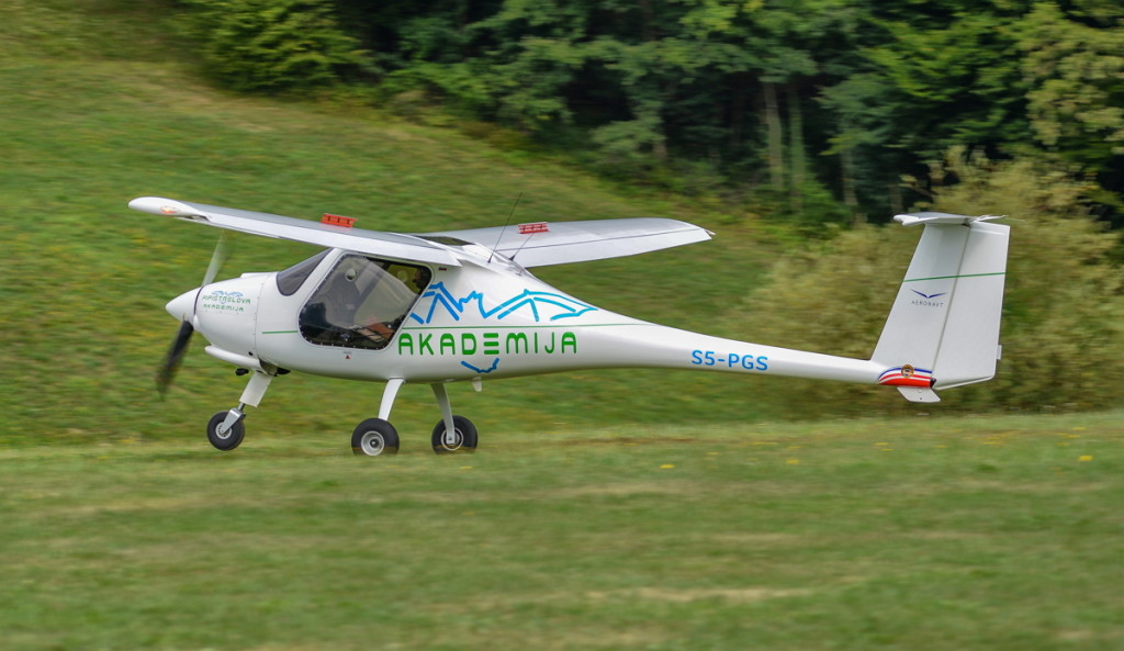 Academy's ALPHA Trainer is landing at Zagorje airstrip at the end of a training sortie.
